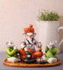 Earth Multicolour Polyresin Ganesha Performing Shivling Pooja Statue