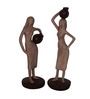 Earth Brown Polyresin Ladies with Pots Statue Showpiece