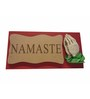 Earth Red Polyresin Wood Namaste Mural Showpiece