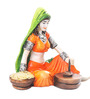Earth Multicolour Polyresin Traditional Lady with Flour Mill Statue Showpiece