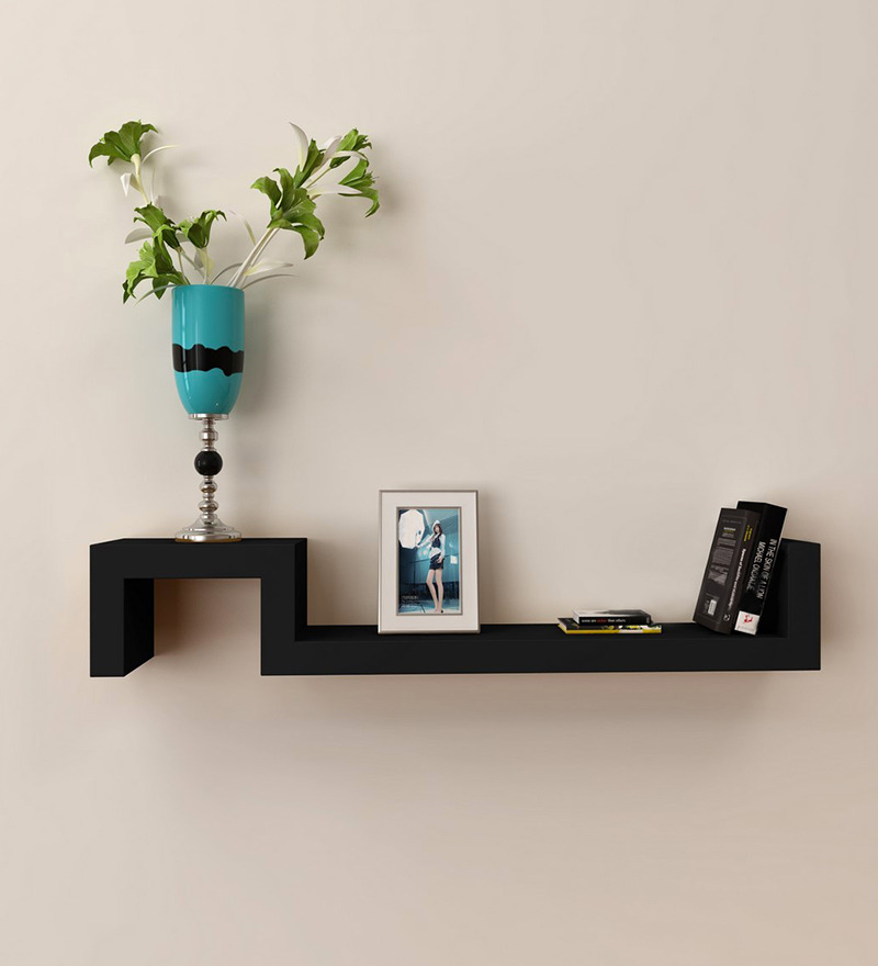eCraftIndia Black Floating Wooden Wall Shelf by eCraftIndia Online ...