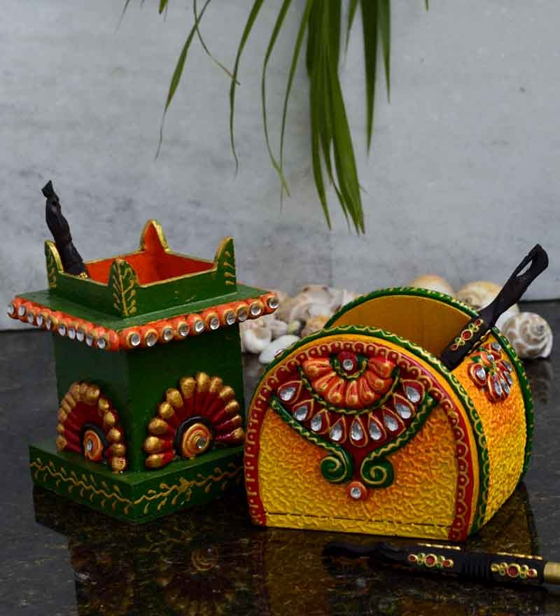 Ecraftindia yellow papier mache pen stand set of 2 by for Decoratives from waste