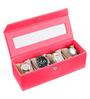 Ecoleatherette Leatherette Dark Pink 4-case Watch Box