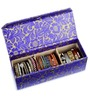 Ecoleatherette Leatherette Blue & Golden 3 Compartments Handcrafted Bangle Box