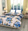 eCraftIndia Cream & Blue Cotton Floral Single Bed Reversible AC Comforter