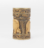 eCraftindia Brown Wooden Elephant Carved Multipurpose Hand Painted Candle Stand