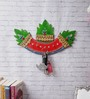 eCraftindia Green Papier Mache Stone Studded Leaves Key Holder