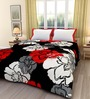 eCraftIndia Red & Black Poly Cotton Floral 84 x 54 Inch Single Bed Reversible AC Blanket