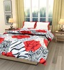 eCraftIndia White & Red Cotton Rose Printed Single Bed Reversible AC Comforter
