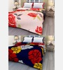 eCraftIndia Multicolor Floral Single Bed Reversible AC Blanket - Set of 2