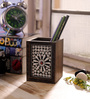 eCraftindia Silver & Brown Wooden Decorative Jewelled Pen Stand