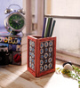 eCraftindia Silver & Red Wooden Jewelled Triangle Shape Pen Stand
