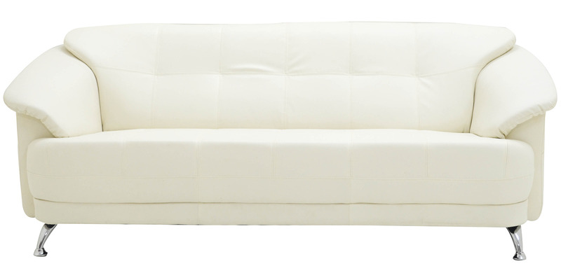 Buy Edo Three Seater Sofa In Ivory Colour By Furnitech