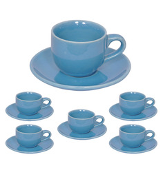 Elite Handicrafts Blue Ceramic 180 ML Cup and Saucer - Set of 6