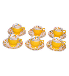 Elite Ceramic 200 ML Cups & Saucers - Set Of 6 - 1382071