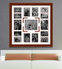 Elegant Arts and Frames Brown Wooden 34 x 1 x 34 Inch 15 Pocket Family Collage Photo Frame