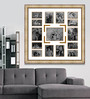 Elegant Arts and Frames Gold Wooden 34 x 1 x 34 Inch 15 Pocket Ornamental Family Collage Photo Frame