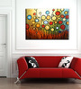 Elegant Arts and Frames Canvas & Wood 28 x 1 x 20 Inch Abstract Flower Garden Framed Original Oil painting