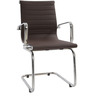 Elegant Mid back Fixed Office Chair in Brown Colour by FabChair