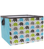 Elephants Aqua/Lime/Grey Storage Box Large