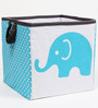Elephants Aqua Lime & Grey Storage Box Small by Bacati