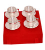 Elite Handicrafts Silver Plated Brass 180 ML Cup and Saucer - Set of 4