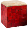 Ella Box Pouffe in Red Colour by Inliving