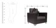 Empire Sofa Set (2 + 1 + 1) Seater in Black Colour by ARRA