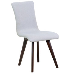 Emiliano Dining Chair (Set of 2) in Silver Grey Colour & Cappucino Legs by Casacraft