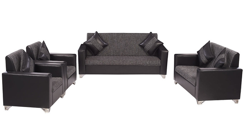 Empire Sofa Set (3 + 2 + 1 + 1) Seater in Black Colour by ARRA