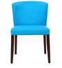 Emilio Dining Chair (Set of 2) in Cerulean Blue Colour with Cappucino Legs by CasaCraft