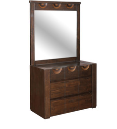 Enrique Dressing Table Wth Mirror in Wenge Colour by HomeTown