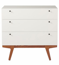 Enzo Three Drawer Chest Of Drawer in White Colour by Asian Arts