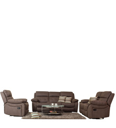 47 Off Eon 3 2 1 Recliner Sofa Set In Dark Brown Colour By