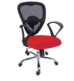 Ergonomic Low Back Office Chair in Red Colour by Adiko Systems