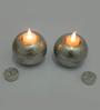Essence Silver Glass Electric Tea Light Holder Set of 2