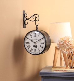 Ethnic Clock Makers Black Metal & MDF 8 X 1.5 X 8 Inch Wall Clock