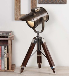 Ethnic Roots Antique Brown Teak Wood Tripod Table Lamp