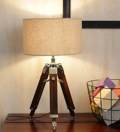 Ethnic Roots Mango Wood & Beige Color Tripod Table Lamp - 1408608