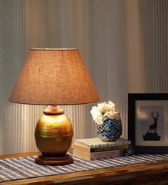 Ethnic Roots Gold And Beige Metal Contemporary Table Lamp - 1408674