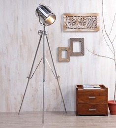 Ethnic Roots Nickel Silver Metal Floor Tripod Lamp - 1351210
