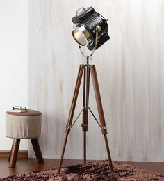 Ethnic Roots Black Nickel Finish Mango Wooden Tripod Floor Lamp
