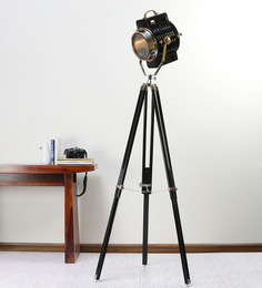 Ethnic Roots Nickel Finish Black Metal Floor Tripod Lamp