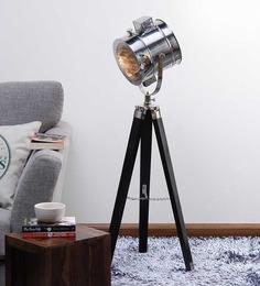 Ethnic Roots Nickel Finish Black Wooden Tripod Floor Lamp