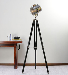 Ethnic Roots Nickel Finish Adjustable Black Tripod Floor Lamp