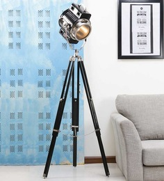 Ethnic Roots Black Nickel Finish Mango Wood Tripod Floor Lamp