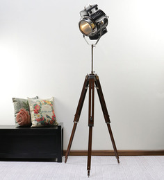 Ethnic Roots Black Nickel Finish Sheesham Wood Tripod Floor Lamp
