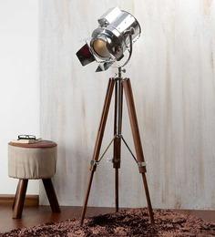 Ethnic Roots Nickel Silver Metal Floor Tripod Lamp - 1351267
