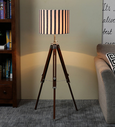 Ethnic Roots White & Black Cotton Floor Lamp - 1566703