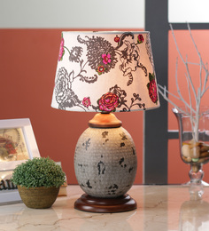 Ethnic Roots White Cotton Table Lamp - 1566831